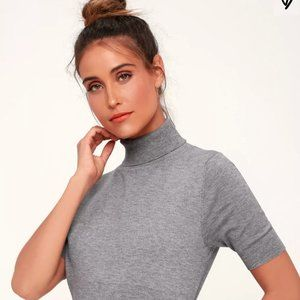 Touch of Class Grey Short Sleeve Turtleneck